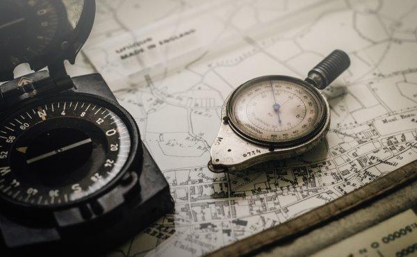 Navigation, compass, map